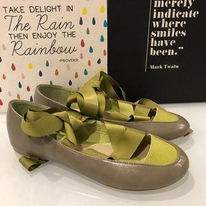 ASOS Green Gray Satin Tie Ballet Flats 5